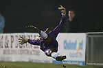Picture by David Horn/Extreme Aperture Photography +44 7545 970036.18/02/2013.Danzelle St. Louis-Hamilton of Chelmsford City dives for the ball during the Blue Square Bet Blue Square South  League match at Melbourne Stadium, Chelmsford, Essex.
