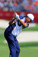 Matt Kuchar US Team plays his 2nd shot on the 10th hole during Thursday's Practice Day of the 41st RyderCup held at Hazeltine National Golf Club, Chaska, Minnesota, USA. 29th September 2016.<br /> Picture: Eoin Clarke | Golffile<br /> <br /> <br /> All photos usage must carry mandatory copyright credit (&copy; Golffile | Eoin Clarke)