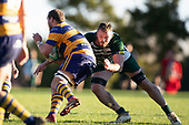 Thomas Quarrie tackles Tamati Fromm. Counties Manukau Premier Club Rugby game between Manurewa and Patumahoe, played at Mountfort Park Manurewa on Saturday June 23rd 2018. Patumahoe won the game 29 - 24 after trailing 12 - 19 at halftime.<br /> Manurewa Kidd Contracting 24 - Petelo Ikenasio, David Osofua, Paolelei Luteru, Pisi Leilua tries, Timothy Taefu 2 conversions,<br /> Patumahoe Troydon Patumahoe Hotel 29 - Kalim North, Shea Furniss, Jonny Wilkinson, Mark Royal, James Brady tries,  Broc Hooper 2 conversions.<br /> Photo by Richard Spranger