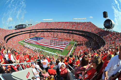 Sept 11, 2011; Kansas City, MO, USA; A general view of the stadium during the 911 tribute before the game between the Kansas City Chiefs and Buffalo Bills at Arrowhead Stadium.  Mandatory Credit: Denny Medley-US PRESSWIRE