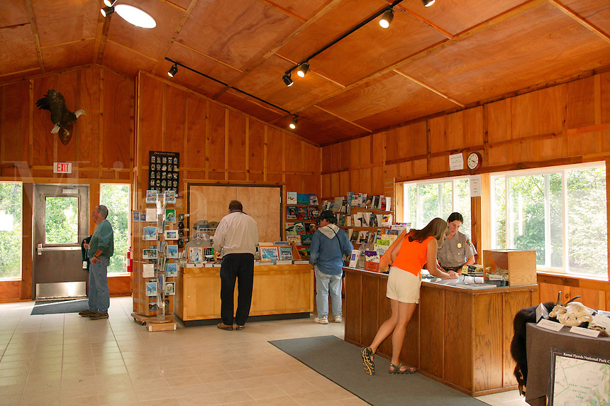 Janine and Park Ranger Bonnie Moore at the visitor information center at Exit Glacier, Kenai Fjords National Park, Seward, Alaska