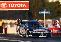 Feb 6, 2015; Pomona, CA, USA; NHRA funny car driver Tony Pedregon during qualifying for the Winternationals at Auto Club Raceway at Pomona. Mandatory Credit: Mark J. Rebilas-