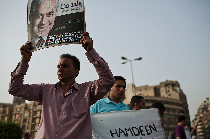 Supporters of socialist candidate Hamdeen Sabbahi protest in Cairo's Tahrir Square after the official announcement of results stated their candidate had not made the final runoff vote, Cairo, Egypt, May 28, 2012. Photo: ED GILES.