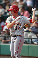 April 11, 2010:  First overall draft pick of the 2009 MLB Draft Stephen Strasburg (37) on deck to bat while making his professional debut with the Harrisburg Senators, Double-A affiliate of the Washington Nationals, in a game vs. the Altoona Curve, affiliate of the Pittsburgh Pirates, at Blair County Ballpark in Altoona, PA.  Photo By Mike Janes/Four Seam Images
