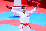 Ayumi Uekusa (JPN), <br /> AUGUST 25, 2018 - Karate : <br /> Women's Kumite +68kg final <br /> at Jakarta Convention Center Plenary Hall <br /> during the 2018 Jakarta Palembang Asian Games <br /> in Jakarta, Indonesia. <br /> (Photo by Naoki Nishimura/AFLO SPORT)