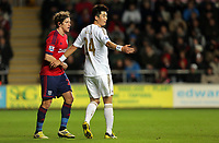 Sunday, 28 November 2012<br /> Pictured: (L-R) Billy Jones and Ki Sung-Yueng.<br /> Re: Barclays Premier League, Swansea City FC v West Bromwich Albion at the Liberty Stadium, south Wales.