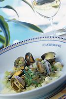 """Europe/France/Provence-Alpes-Côtes d'Azur/06/Alpes-Maritimes/Cannes : Polenta de sarrazin aux coquillages - Recette de Jean-Jacques Martin chef du restaurant """"Le Méditerranée"""" de l'hôtel """"Sofitel"""""""