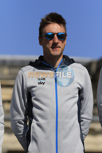 Elia Viviani (ITA) Team Sky at the Team Presentation for the upcoming 115th edition of the Paris-Roubaix 2017 race held in Compiegne, France. 8th April 2017.<br /> Picture: Eoin Clarke | Cyclefile<br /> <br /> <br /> All photos usage must carry mandatory copyright credit (&copy; Cyclefile | Eoin Clarke)