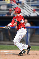 Batavia Muckdogs outfielder Ryan Aper (3) at bat during the first game of a doubleheader against the Connecticut Tigers on July 20, 2014 at Dwyer Stadium in Batavia, New York.  Connecticut defeated Batavia 5-3.  (Mike Janes/Four Seam Images)