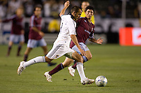 LA Galaxy midfielder Peter Vagenas (8) prepares to send a ball crossfield in the first   half. The Colorado Rapids defeated the LA Galaxy 1-0 during the preliminary rounds of the 2008 US Open Cup at Home Depot Center stadium in Carson, Calif., on Tuesday, May 27, 2008.