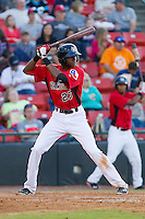 Lewis Brinson (27) of the Hickory Crawdads at bat against the Kannapolis Intimidators at L.P. Frans Stadium on May 25, 2013 in Hickory, North Carolina.  The Crawdads defeated the Intimidators 14-3.  (Brian Westerholt/Four Seam Images)