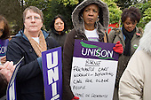 Day of action by care workers in Barnet against proposed 30% wage cuts by their employer, Freemantle.