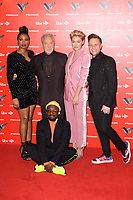 LONDON, UK. January 03, 2019: Will.i.am, Jennifer Hudson, Sir Tom Jones, Emma Willis &amp; Olly Murs at the launch photocall for the 2019 series of &quot;The Voice&quot; London.<br /> Picture: Steve Vas/Featureflash