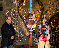 LAS VEGAS, NV - January 16 : Dale Evers, Carlos Santana and Paul Reed Smith pictured as House of Blues Las Vegas unveils 13-foot high guitar sculpture ?Wings of Legend? that will commemorate the return of Carlos Santana's residency: An Intimate Evening with Santana: Greatest Hits Live - Yesterday, Today & Tomorrow and continue the 20th Anniversary celebration of the House of Blues brand at House of Blues at Mandalay Bay in Las Vegas, Nevada on January 16, 2013. Credit: Kabik/Starlitepics/MediaPunch Inc. ***HOUSE COVERAGE*** /NortePhoto