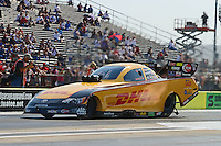 Sept. 21, 2012; Ennis, TX, USA: NHRA funny car driver Jeff Arend during qualifying for the Fall Nationals at the Texas Motorplex. Mandatory Credit: Mark J. Rebilas-