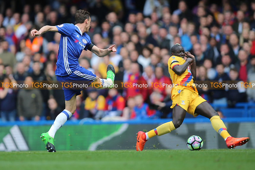 Nemanja Matic of Chelsea attempt on goal is blocked by Mamadou Sakho of Crystal Palace during Chelsea vs Crystal Palace, Premier League Football at Stamford Bridge on 1st April 2017