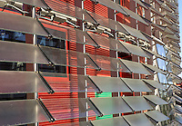 "Agbar Tower : detail of the glass sheets and colours ; Jean Nouvel (Fumel, Lot-et-Garonne, France 1945) and B720 architectural studio headed by Fermín Vázquez; June 1999 - Sept 2004; 142 meters height; 50,500 square meters built; 59,619 Glass Sheets; 4,349 Openings; 4500 Windows; 40 different colours; work included to the exhibition ""On-site, new architecture in Spain"" at the Museum of Modern Art (New York, Feb - May 2006), Barcelona, Catalonia, Spain Picture by Manuel Cohen"