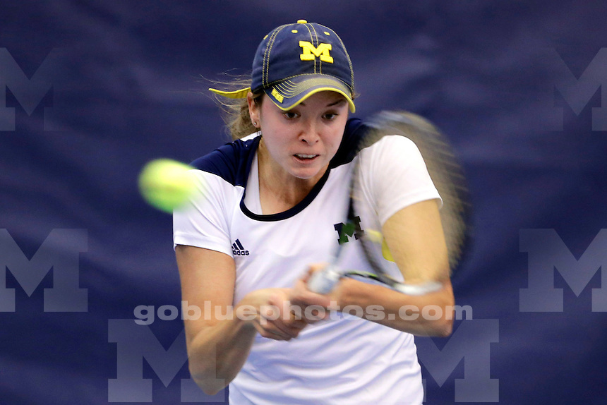 University of Michigan players compete against Miami in singles action during the 16th round of play in the NCAA 2016 Divison 1 Men's & Women's Tennis Championships at the Micahel D. Case Tennis Center at the University of Tulsa in Tulsa, OK, May 19, 2016.