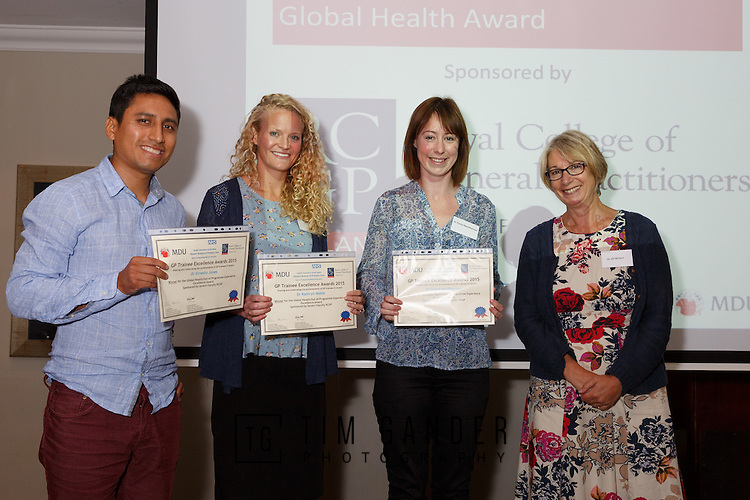 22/07/2015 GP Trainee Awards and Michael Lennard Reception 2015 hosted at The Holiday Inn, Filton, Bristol, by MDU. Shared winners, &pound;100 each<br /> Dr Kuki Avery (Bristol)<br /> Dr Ernesto Jones (Gloucs)<br /> Dr Fiona Macpherson (Bristol), presented their certificates by Dr Jill Wilson, Chair Severn Faculty RCGP.