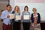 22/07/2015 GP Trainee Awards and Michael Lennard Reception 2015 hosted at The Holiday Inn, Filton, Bristol, by MDU. Shared winners, £100 each<br /> Dr Kuki Avery (Bristol)<br /> Dr Ernesto Jones (Gloucs)<br /> Dr Fiona Macpherson (Bristol), presented their certificates by Dr Jill Wilson, Chair Severn Faculty RCGP.