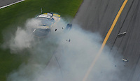 Feb 10, 2007; Daytona, FL, USA; ARCA RE/MAX Series driver Steve Wallace (61) crashes during the ARCA 200 at Daytona International Speedway. Mandatory Credit: Mark J. Rebilas.