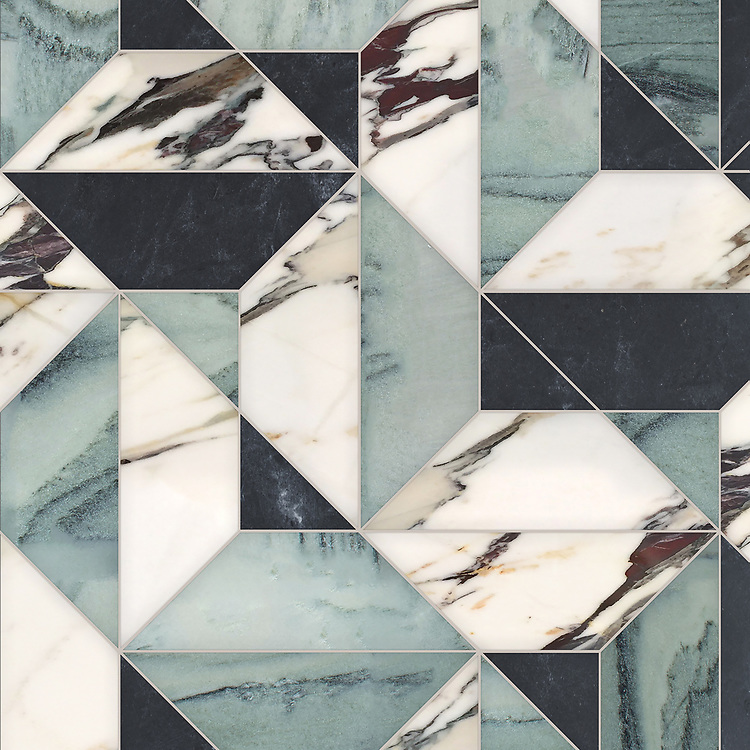 Zachary Grand, a hand-cut stone mosaic, shown in polished Kay's Green, Plumeria, and honed Orpheus Black, is part of the Semplice® collection for New Ravenna.