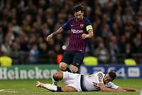 Harry Winks of Tottenham Hotspur and Lionel Messi of FC Barcelona during Tottenham Hotspur vs FC Barcelona, UEFA Champions League Football at Wembley Stadium on 3rd October 2018