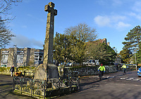 BNPS.co.uk (01202 558833)<br /> Pic: BNPS<br /> <br /> Pictured:  Shaftesbury War Memorial now sits in front of the Westminster Memorial Hospital.  <br /> <br /> These charming photos reveal everyday life at the turn of the 20th century in a thriving market town later made famous by a TV advert.<br /> <br /> The black and white snapshots of Shaftesbury, Dorset, were taken by Albert Tyler who set up a photography business there in 1901.<br /> <br /> There are various street scenes and also images of the locals in traditional attire, with men in flatcaps and women in bonnets.<br /> <br /> Tyler photographed the busy opening of the town market in 1902, and a garden party where men played croquet.