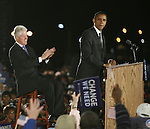 Former U.S President Bill Clinton, left laughs, as he listens to a speech  of Presidential candidate Barack Obama, right, during an election rally   in Kissimmee,  Fla Wednesday Oct 29 2008.  Americans will go to the polls on Nov 4, at a time of great Financial crisis, war in Iraq and Afghanistan, to elect a  new President. A vote, that will affect not only America, but the whole world. Photo by Eyal Warshavsky .