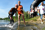 GER - Maxdorf, Germany, June 14: Julian Beuchert #5 (LAZ Triathlon Mosbach) leaves the water after completing the swimming section during the 12. Maxdorfer Triathlon on June 14, 2015 at TSG Maxdorf in Maxdorf, Germany. (Photo by Dirk Markgraf / www.265-images.com) *** Local caption ***