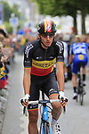 Belgian National Champion Oliver Naesen (BEL) Ag2R La Mondiale at sign on in Dusseldorf before the start of Stage 2 of the 104th edition of the Tour de France 2017, running 203.5km from Dusseldorf, Germany to Liege, Belgium. 2nd July 2017.<br /> Picture: Eoin Clarke | Cyclefile<br /> <br /> <br /> All photos usage must carry mandatory copyright credit (&copy; Cyclefile | Eoin Clarke)