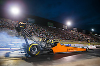 Jul 20, 2018; Morrison, CO, USA; NHRA top fuel driver Mike Salinas during qualifying for the Mile High Nationals at Bandimere Speedway. Mandatory Credit: Mark J. Rebilas-USA TODAY Sports