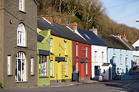 Pictured: The Main Street in Solva. Friday 10 January 2020<br /> Re: Farmers campaigning to save a 14th century farm called Trecadwgan and keep it for a community project in Solva, west Wales, UK.