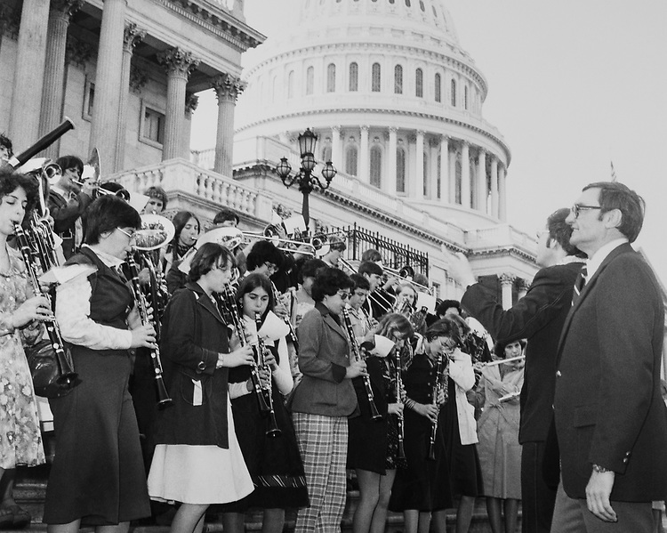 Rep. Donald J. Mitchell, R-N.Y. with the Herkimer High School band in 1974. (Photo by Mickey Senko/CQ Roll Call)