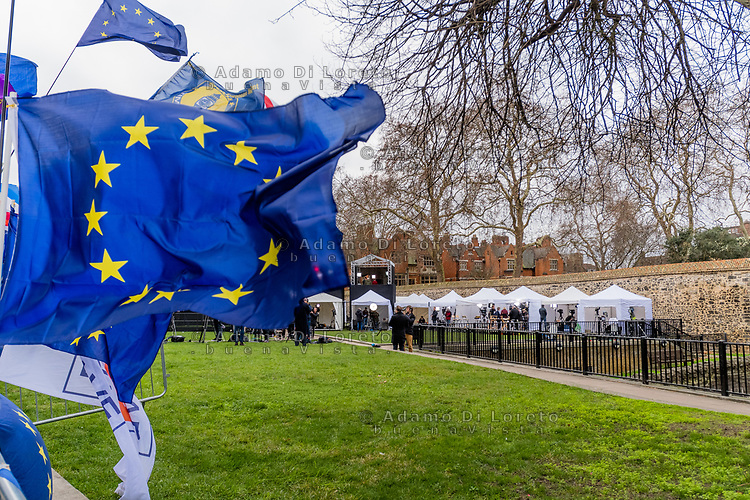 LONDON, ENGLAND - JANUARY 15: An Europe flag in the press area outside the House of Commons on January 15, 2019 in London, England. Theresa May's Brexit deal finally reaches the House of Commons this evening and MPs will begin voting on it at 7pm. The Prime Minister has consistently said her's is the only deal that Brussels will entertain and urged support from Parliament to avoid the UK crashing out of the European Union with no deal. Photo Adamo Di Loreto