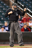 Umpire Chad Whitson during game four of a best of five playoff series between the Empire State Yankees and Pawtucket Red Sox at Frontier Field on September 8, 2012 in Rochester, New York.  Pawtucket defeated Empire State 7-1 to advance to the International League Finals.  (Mike Janes/Four Seam Images)