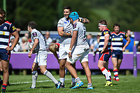 Zach Mercer of Bath Rugby celebrates his try with team-mate Matt Banahan. Pre-season friendly match, between Bristol Rugby and Bath Rugby on August 12, 2017 at the Cribbs Causeway Ground in Bristol, England. Photo by: Patrick Khachfe / Onside Images