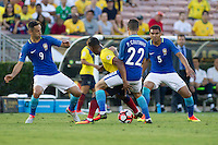 Action photo during the match Brazil vs Ecuador, Corresponding Group -B- America Cup Centenary 2016, at Rose Bowl Stadium<br /> <br /> Foto de accion durante el partido Brasil vs Ecuador, Correspondiante al Grupo -B-  de la Copa America Centenario USA 2016 en el Estadio Rose Bowl, en la foto: (i-d) Jonas, Philippe Coutinho y Casemiro de Brasil<br /> <br /> <br /> 04/06/2016/MEXSPORT/Victor Posadas.