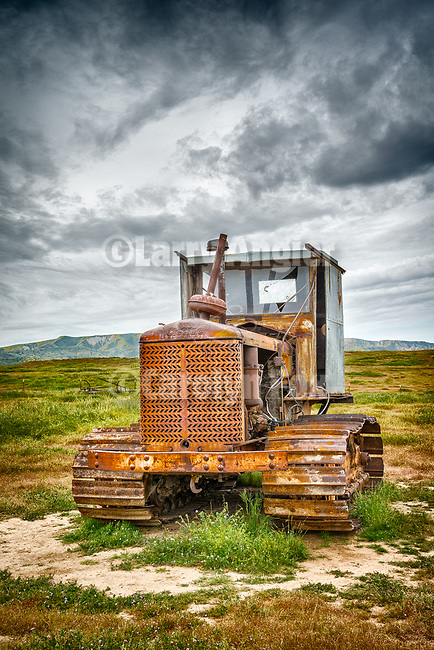 1940s Cleatrac crawler tractor with home-made cab, abandoned mid 20th century farm at the Traver Ranch, Carrizo Plain National Monument, San Luis Obispo County, Calif.<br /> <br /> Note: 3 signs removed from the tractor&rsquo;s grill, &ldquo;19&rdquo;, &ldquo;Cletrac Tractor&rdquo;