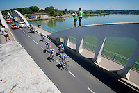 escape group over the Saône River:<br /> Sebastian Langeveld (NLD/Garmin-Sharp), Simon Clarke (AUS/Orica-GreenEDGE), David De la Cruz (ESP/NetApp-Endura), Grégory Rast (CHE/Trek Factory Racing) & Florian Vachon (FRA/Bretagne-Séché Environnement)<br /> <br /> 2014 Tour de France<br /> stage 12: Bourg-en-Bresse - Saint-Etiènne (185km)