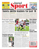 Back page image of Rhyl FC v FC United of Manchester in the 'Rhyl Journal'. 18/07/12.