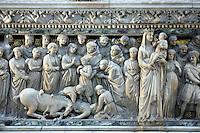 Dettaglio del Sarcofago di Niccolo' dell'Arca, particolare della tomba di San Domenico nella Basilica omonima a Bologna.<br /> Detail of the sarcophagus by Niccolo' dell'Arca, part of the tomb of San Domenico in the homonymous Basilica in Bologna.<br /> UPDATE IMAGES PRESS/Riccardo De Luca