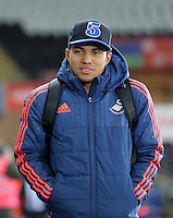 Jefferson Montero of Swansea arrives before the Barclays Premier League match between Swansea City and Watford at the Liberty Stadium, Swansea on January 18 2016