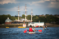 Kayaking on the River Thames by the Cutty Sark, Greenwich, London, England