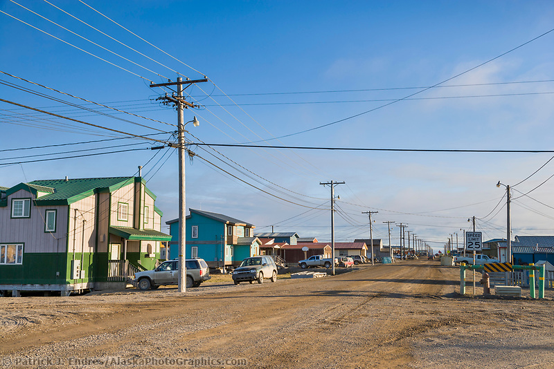 Street view in the small coastal Alaska village of Utqiagvik (Barrow).
