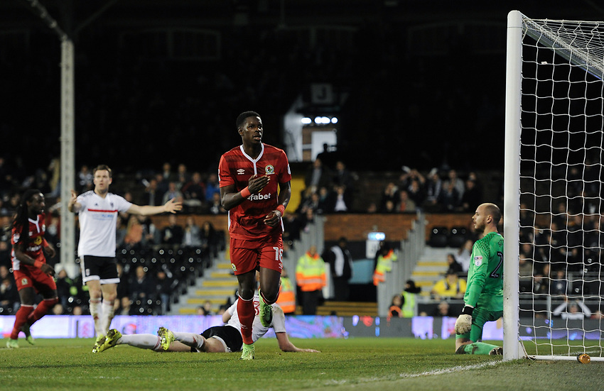 Blackburn Rovers' Lucas Joao scores his sides second goal <br /> <br /> Photographer /Ashley WesternCameraSport<br /> <br /> The EFL Sky Bet Championship - Fulham v Blackburn Rovers - Tuesday 14th March 2017 - Craven Cottage - London<br /> <br /> World Copyright &copy; 2017 CameraSport. All rights reserved. 43 Linden Ave. Countesthorpe. Leicester. England. LE8 5PG - Tel: +44 (0) 116 277 4147 - admin@camerasport.com - www.camerasport.com