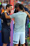 53e Trofeu Joan Gamper.<br /> FC Barcelona vs Club Atletico Boca Juniors: 3-0.<br /> Lionel Messi, Gerard Pique &amp; Carlos Tevez.