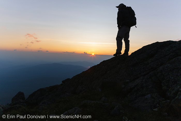 Silhouette of a hiker on the Gulfside Trail (Appalachian Trail), near the summit of Mount Clay, in Thompson and Meserve's Purchase, in the New Hampshire White Mountains at sunset. Mount Clay is named for Henry Clay, a 19th-century senator.