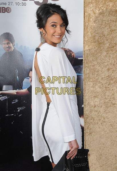 EMMANUELLE CHRIQUI.at the HBP Premiere of The 7th Season of Entourage held at Paramount Picture Studios in Hollywood, California, USA, June 16th 2010..half length white kimono sleeve dress                                                 side back rear behind over shoulder backless .CAP/RKE/DVS.©DVS/RockinExposures/Capital Pictures.