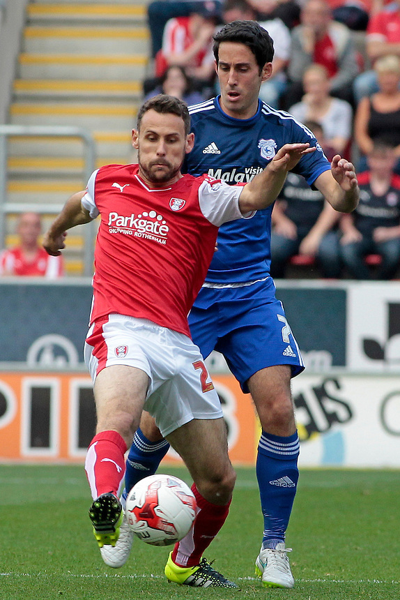 Rotherham United's Tony Andreu vies for possession with Cardiff City's Joe Ralls<br /> <br /> Photographer David Shipman/CameraSport<br /> <br /> Football - The Football League Sky Bet Championship - Rotherham United v Cardiff City - Saturday 19th September 2015 - AESSEAL New York Stadium - Rotherham<br /> <br /> &copy; CameraSport - 43 Linden Ave. Countesthorpe. Leicester. England. LE8 5PG - Tel: +44 (0) 116 277 4147 - admin@camerasport.com - www.camerasport.com